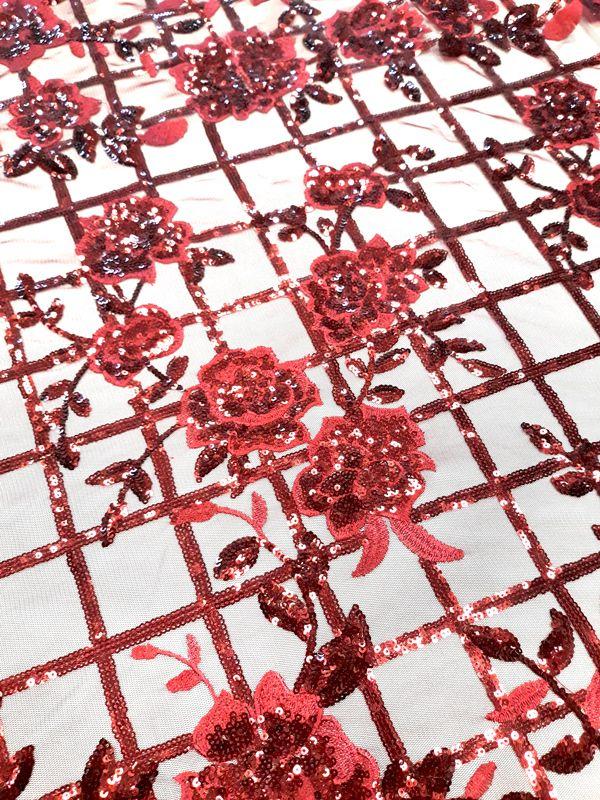 8e489afed3 28-711 Bordó négyzetrácsos rózsás csipke anyag - Esküvői Csipke Webshop